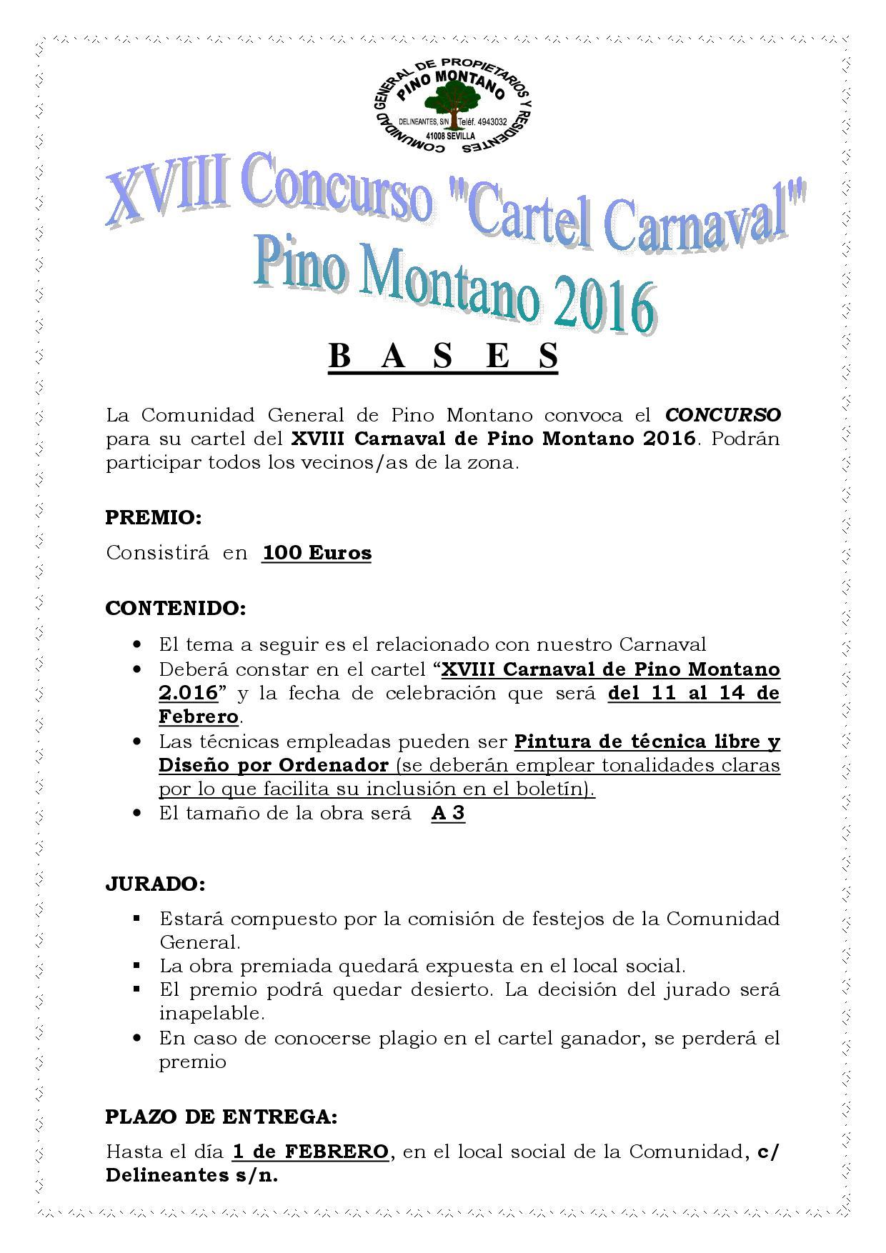 CONCURSO CARTEL XVIII CARNAVAL PINO MONTANO 2016